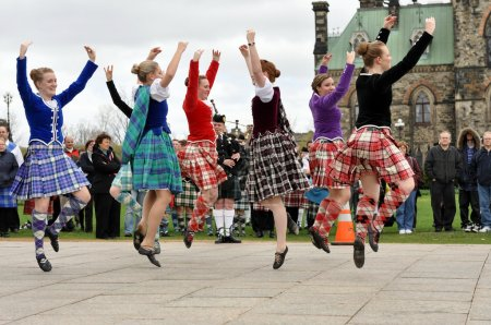 Photo for Scottish Highland Dancers perform at the National Tartan Day celebration on Parliament Hill April 11, 2010 in Ottawa, Ontario. - Royalty Free Image