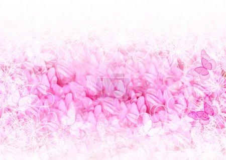 Bonita tarjeta suave con pétalos rosados