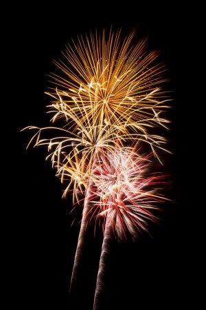 Photo pour Lumineuses et colorées des explosions pyrotechniques lumière du ciel nocturne. - image libre de droit