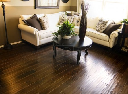 Dark hardwood flooring in modern living room...