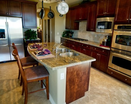 Kitchen with granite island counter