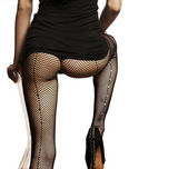 Woman wearing fishnet stockings