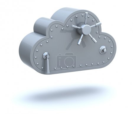 Photo for Safe Cloud Computing 3D Concept over white background - Royalty Free Image