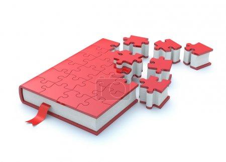 Photo pour Concept avec livre et puzzle - image libre de droit