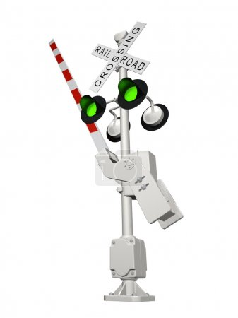 Railroad crossing with green light