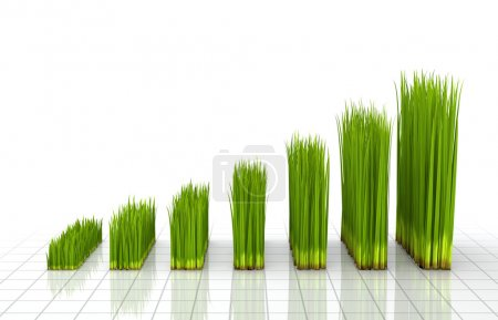 Photo for 3D concept with the chart created with green grass - Royalty Free Image