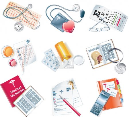 Photo for Detailed set of medical related icons - Royalty Free Image