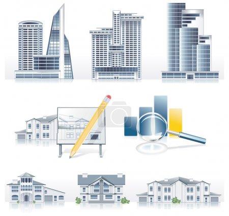 Illustration pour Ensemble d'icônes liées à l'architecture - image libre de droit