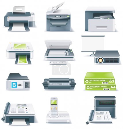 Vector detailed computer parts icon set. Part 4