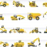 Set of detailed tractors and excavators...