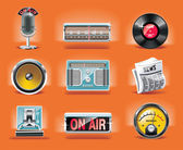 Vector radio icon set (orange background)