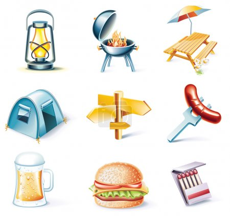 Vector cartoon style icon set. Part 15. Traveling