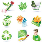 Vector cartoon style icon set Part 18 Ecology