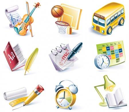 Vector cartoon style icon set. Part 24. School