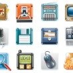 Set of square glossy universal web icons...
