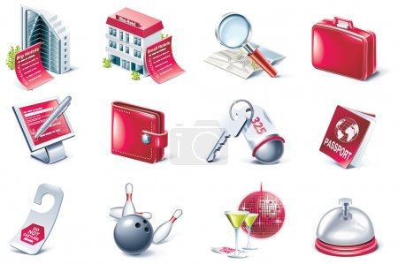 Illustration for Set of hotel and travel related icons - Royalty Free Image