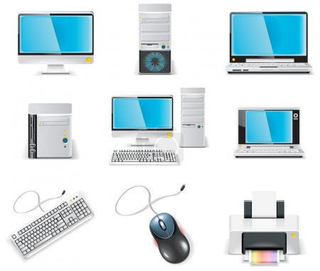 Illustration for Set of icons representing realistic computer components - Royalty Free Image