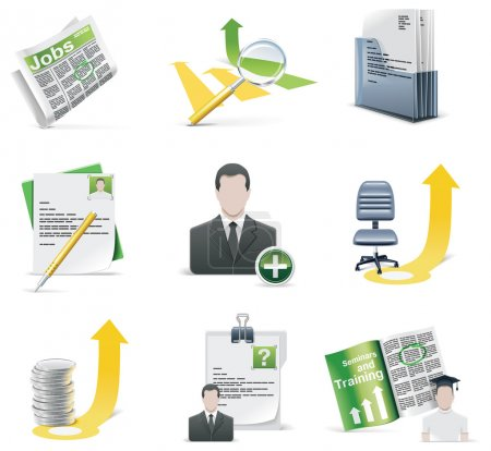 Illustration for Set of employment related icons - Royalty Free Image