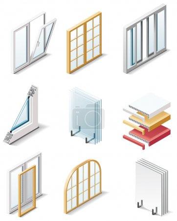 Photo pour Ensemble des icônes représentant des produits de construction - image libre de droit