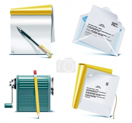 Illustration for Set of business and office work related icons - Royalty Free Image