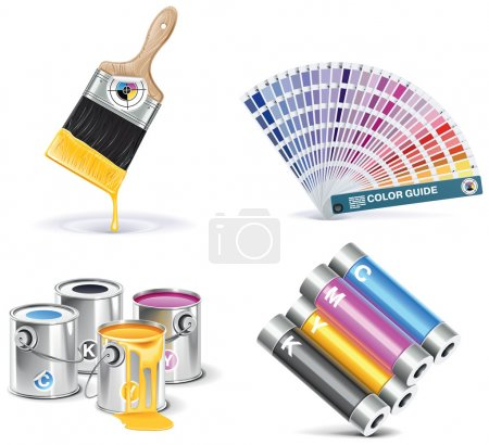 Illustration for Set of prepress and print work related icons - Royalty Free Image