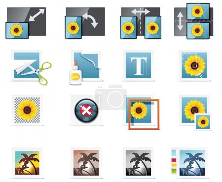 Illustration for Set of the detailed photo equipment related icons - Royalty Free Image