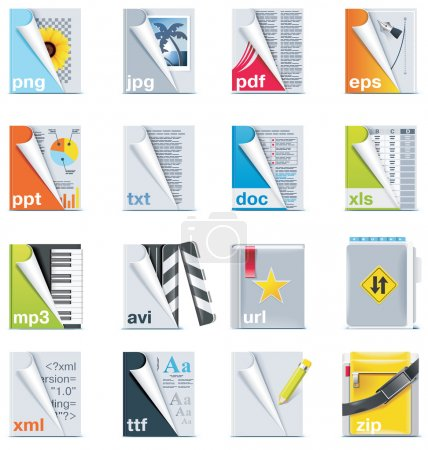 Illustration for Set of icons representing different types of files - Royalty Free Image