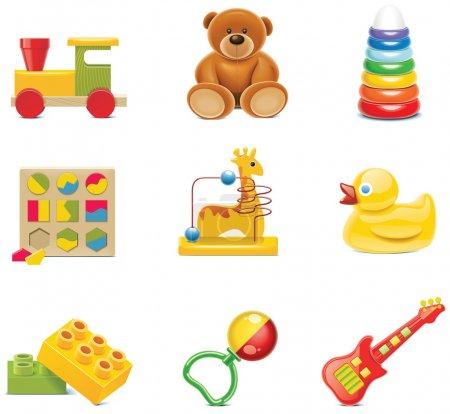 Icônes de jouets vectoriels. Jouets pour bébés