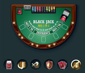 Detailed black jack casino table with icons
