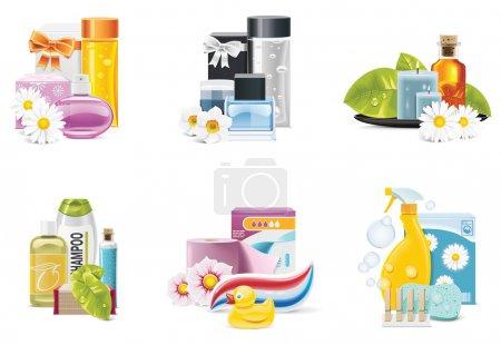 Illustration pour Ensemble de produits liés à la santé et à la beauté - image libre de droit