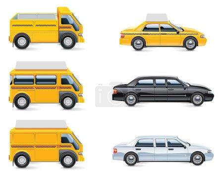 Illustration pour Ensemble des icônes liées au service de taxi - image libre de droit