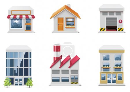 Illustration pour Ensemble des icônes liées à l'immobilier - image libre de droit