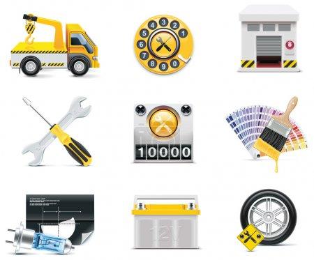 Ilustración de Conjunto de reparación de automóviles y mantenimiento relacionados con iconos - Imagen libre de derechos