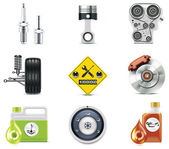 Set of the car repair and maintenance related icons