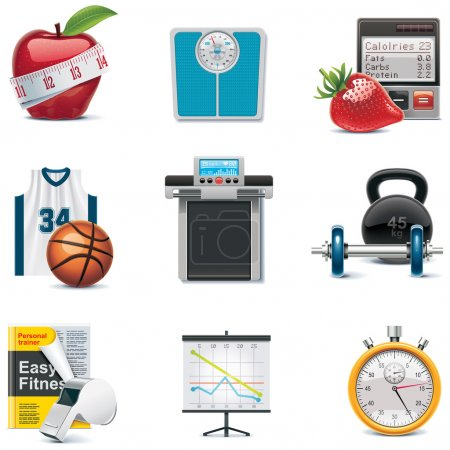 Photo for Set of the fitness and weight loss related icons - Royalty Free Image