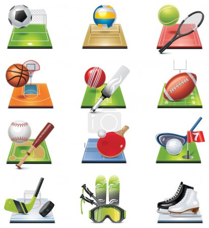 Illustration for Set of the icons representing miscellaneous sports - Royalty Free Image