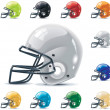 Set of the football-gridiron helmets in different ...