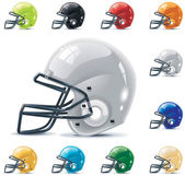 Set of the football-gridiron helmets in different colors
