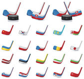 Vector ice hockey sticks-country flags Part 1