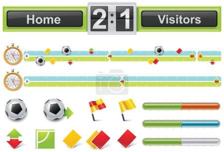 Vector soccer match timeline
