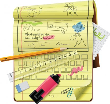 Illustration pour Icône bloc-notes ExtraLarge représentant des possibilités et fonctionnalités de l'organisateur - image libre de droit