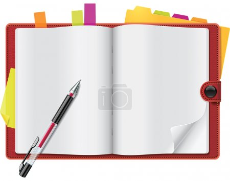 Vector open personal organizer