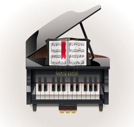 Illustration pour Piano à queue détaillé avec partition musicale - image libre de droit