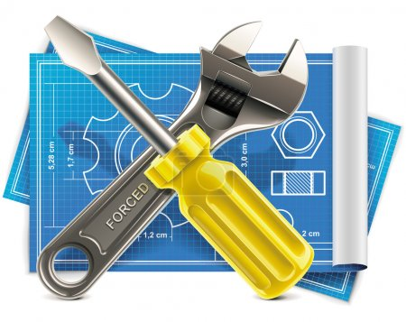 Illustration for Detailed and shiny adjustable wrench and screwdriver on blueprint paper sheet - Royalty Free Image