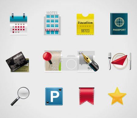 Illustration for Set of icons representing hotel booking and related service - Royalty Free Image