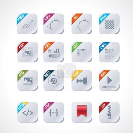 Illustration for Set of the icons representing different file types (square version) - Royalty Free Image