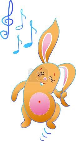 Illustration pour C'est un lapin qui aime tellement la musique - image libre de droit