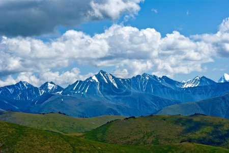 Far mountain chains near a mongolia border