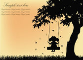 Black silhouette of the girl on a swing with a tree on a yellow background