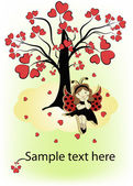 Tree with red hearts the girl on a cloud